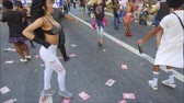 eşit : Sao Paulo, Brazil - June 18, 2018: Undefined person dancing during the S?o Paulo Pride Parade.