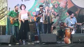 domenica : Sao Paulo, Brazil December 9, 2018: Unidentified musical band, performing jazz and popular music in a public and cultural street event in Sao Paulo Brazil. Musical instruments and voice.
