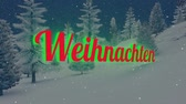 weihnachten : Animated Christmas Weihnachten text in the night forest 1 Stock Footage