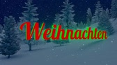 weihnachten : Animated Christmas Weihnachten text in the night forest