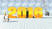 substituição : New year 2016 moves forward by the bulldozer and replaces old year 2015