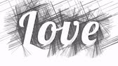 papier : Love inscription appears on abstract hatched black and white background