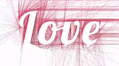 papier : Love inscription appears on abstract red hatched background Stock Footage