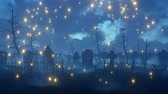 decaying : Magical misty night at abandoned spooky cemetery with old decaying gravestones and supernatural fairy firefly lights flying in the air. Halloween fantasy 3D animation.