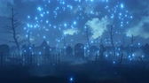 decaying : Abandoned scary graveyard with old decaying tombstones and supernatural magic firefly lights soaring in the air at dark foggy night. Halloween fantasy 3D animation.