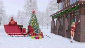 senhora : Sexy blonde girl in Santa Claus suit near a luxury country house decorated for Christmas with illuminated fir tree, santas sleigh and snowy forest Vídeos