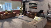 keretében : Modern living room interior in loft apartment 3D animation Stock mozgókép