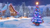 township : Christmas tree in alpine village at snowy winter night