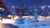 half timbered : Winter night before Christmas in mountain village
