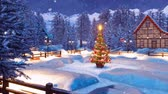 township : Snowy alpine mountain township at Christmas night