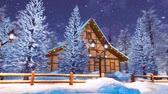half timbered : Alpine mountain timber house at snowy winter night