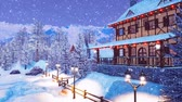 half timbered : Ski resort in alpine village at snowy winter night