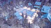 half timbered : Snowbound alpine township at winter night top view