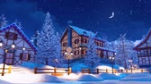 snow covered spruce : Cozy snow covered mountain village at winter night