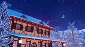 snow covered spruce : Illuminated european rural house at winter night