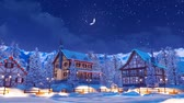 half timbered : Illuminated alpine mountain town at winter night Stock Footage