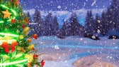 snow covered spruce : Christmas tree at winter night during snowfall Stock Footage