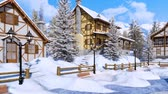 half timbered : Snow covered alpine mountain village at sunny winter day