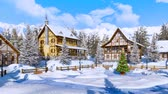 township : Christmas tree on snowbound alpine village square Stock Footage