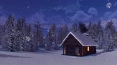 blockhütte : Snowbound mountain cabin at snowfall winter night