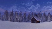 desolado : Solitary log hut high in the mountains at snowy winter night