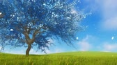 сакура : Surreal blue sakura cherry tree in blossom 3D animation