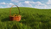 vime : Basket with dyed easter eggs among green grass Stock Footage