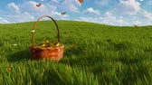 vime : Basket with easter eggs on grass and fluttering butterflies Stock Footage