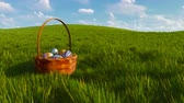 vime : Easter basket with colorful eggs among green grass