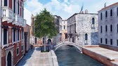Венеция : Venice street with stone bridge over narrow canal