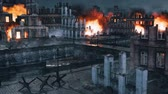 Urban battlefield scene with burning ruined buildings Stock Footage