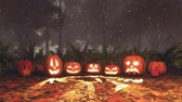 Jack-o-lantern pumpkins in magical night forest Stock Footage