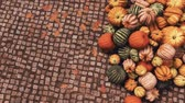 Close-up top view of colorful autumn pumpkins at farmers market piled on cobblestone pavement background with copy space