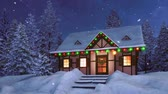 Rural half-timbered house decorated with christmas lights and garlands among snowbound fir tree forest at snowy winter night