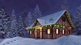 Cozy half-timbered rustic house decorated for Xmas and illuminated by christmas lights garlands among snow covered fir forest at calm winter night Stock Footage