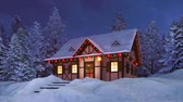 Dreamlike winter scenery with cozy snowbound half-timbered rural house illuminated by christmas lights among snow covered pine forest at night