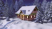 Solitary snowbound half-timbered rural house decorated for Christmas among snow covered fir forest at winter night during snowfall