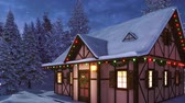 Facade of snow covered half-timbered rustic house decorated for Xmas with christmas lights, wreath and garlands among snowy fir forest at snowfall winter night Stock Footage