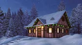 Cozy half-timbered rustic house decorated for Xmas with christmas lights and garlands among snow covered fir forest at winter night during snowfall Stock Footage
