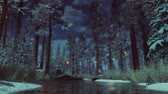 Supernatural fairy firefly lights flying above small woodland river among snow covered fir trees in a dark mysterious winter forest at early morning or dusk. Fantasy 3D animation.