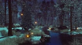 paranormaal : Dreamlike woodland landscape with supernatural fairy firefly lights soaring in the air over small creek in a dark mystical winter forest at early morning or dusk. Fantasy 3D animation.