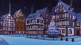 Empty street of cozy european town with traditional half-timbered houses and decorated outdoor christmas tree at snowfall winter night