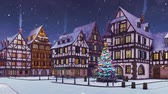 Cozy european town with decorated outdoor christmas tree on its square and traditional half-timbered houses at dusk or dawn during snowfall