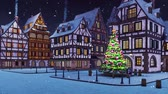 Empty european town with illuminated outdoor christmas tree on its square and traditional half-timbered houses at snowfall winter night