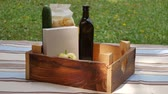 turp : Fresh groceries in box. Wooden crate with fresh groceries outdoors. Delivery concept.