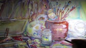 guache : Still life on a large sheet of paper HD 1920x1080p