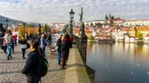 gotic : Timelapse of people walking on the Charles Bridge, Prague, Czech Republic.