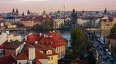 gotic : Timelapse of people walking on the Charles Bridge at sunset, Prague, Czech Republic.