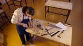 furniture : Carpenter labor master work with wood Stock Footage