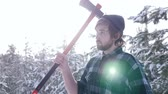 vazamento : Lumberjack standing with his ax in the woods, light leakage surround him Vídeos